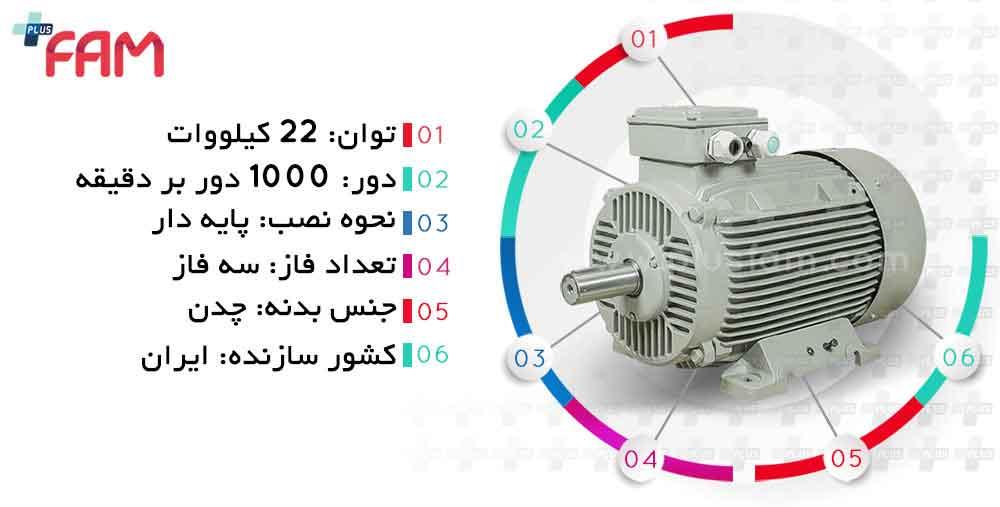 مشخصات فنی الکتروموتور موتوژن 22 کیلووات 1000 دور