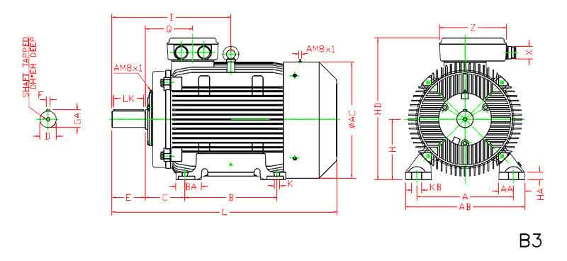 ابعاد الکتروموتور موتوژن 55 کیلووات 1500 دور