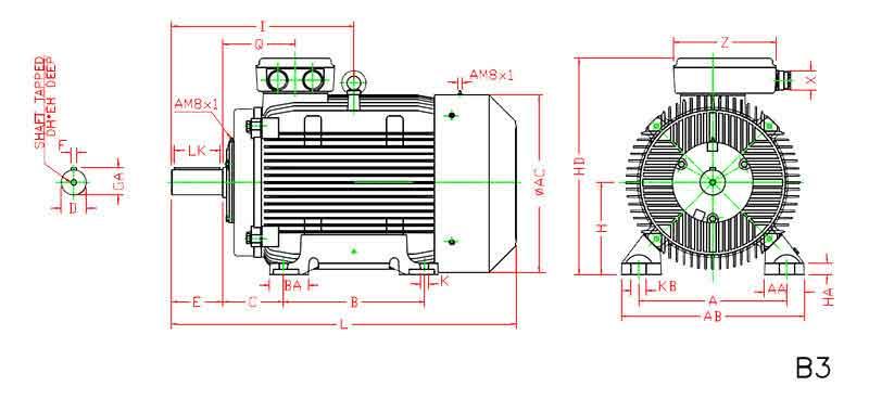 ابعاد الکتروموتور موتوژن 55 کیلووات 3000 دور