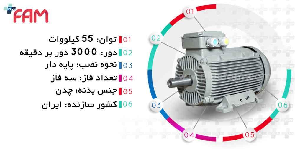 مشخصات فنی الکتروموتور موتوژن 55 کیلووان 3000 دور