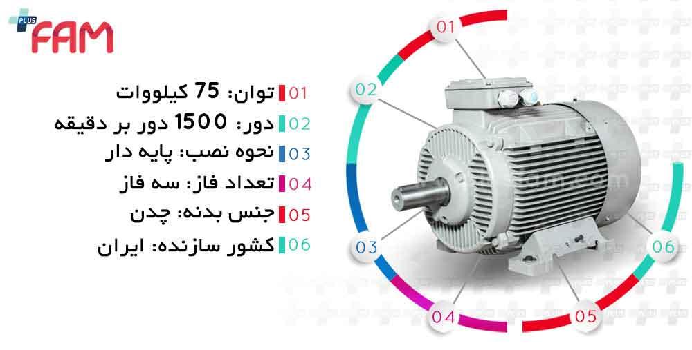 مشخصات فنی الکتروموتور موتوژن 75 کیلووات 1500 دور