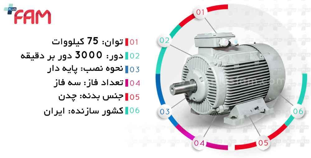 مشخصات فنی الکتروموتور موتوژن 75 کیلووات 3000 دور