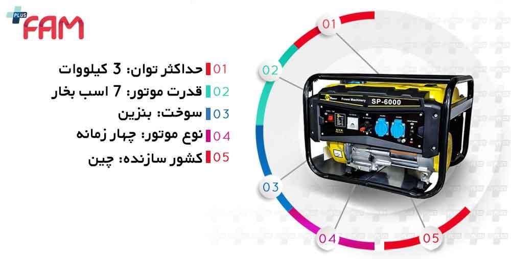 مشخصات فنی موتور برق Sun power مدل SP-6000 توان 3 کیلووات