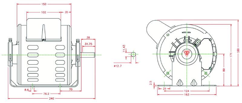 ابعاد الکتروموتور کولر موتوژن 3/4 اسب بخار
