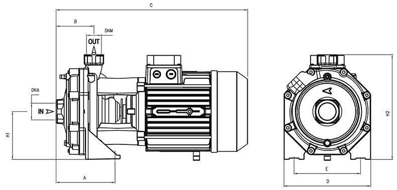 ابعاد پمپ پنتاکس CBT400