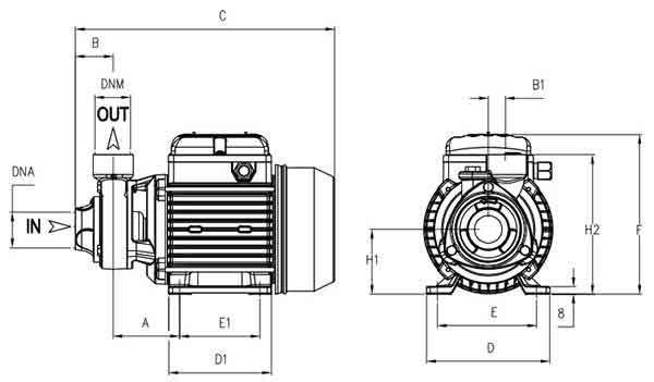 مشخصات ابعادی پمپ پنتاکس PM45