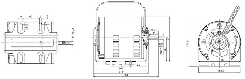 ابعاد موتور کولر الکتروژن 1/2 اسب