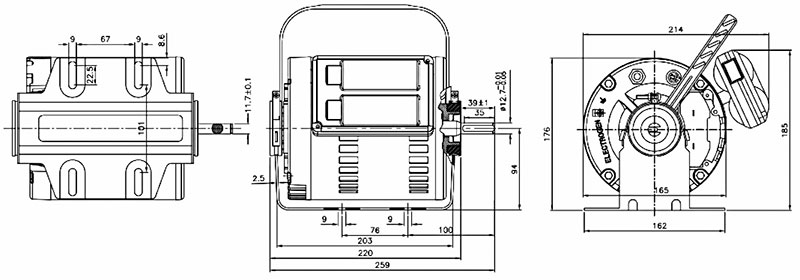 ابعاد موتور کولر الکتروژن 3/4 اسب