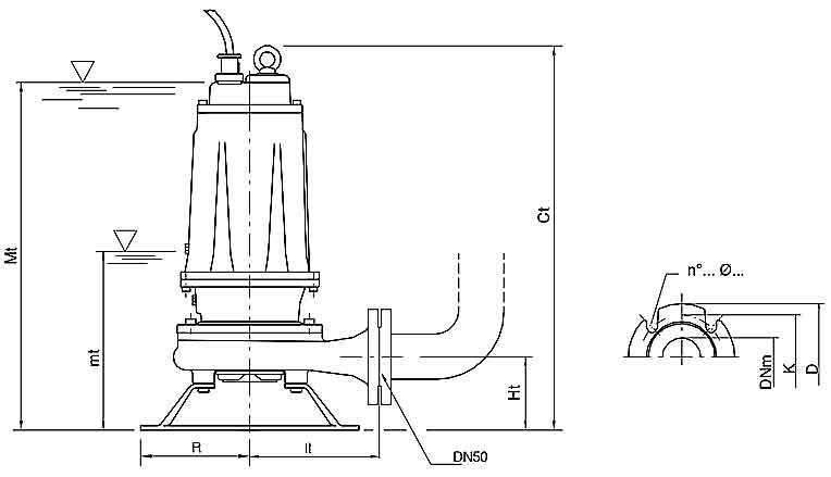 ابعاد پمپ لجن کش پنتاکس DTRT550