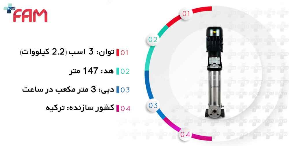 مشخصات فنی پمپ طبقاتی عمودی ونسان VIP SS04 03/23 سه فاز 23 طبقه