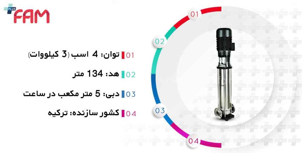مشخصات فنی پمپ طبقاتی عمودی ونسان VIP SS04 05/20 سه فاز 20 طبقه