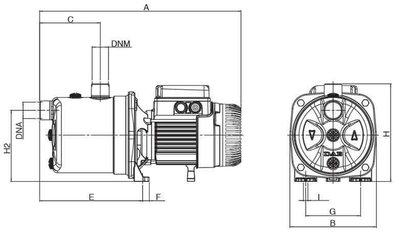 ابعاد پمپ داب JETINOX 102 M