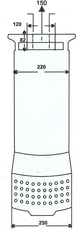 ابعاد پمپ کف کش فدک F 22/1 B سایز 6 اینچ