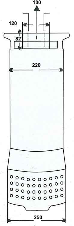 ابعاد پمپ کف کش فدک F 54/2 B سایز 4 اینچ