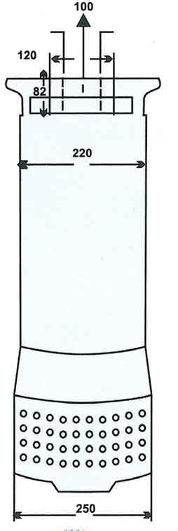 ابعاد پمپ کف کش فدک F 72/3 سایز 4 اینچ