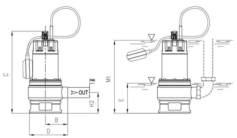 ابعاد پمپ لجن کش پنتاکس DX 100 G