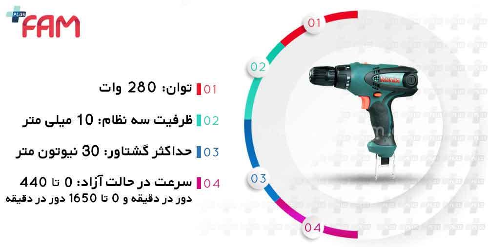 مشخصات فنی پیچ گوشتی برقی رونیکس 2513