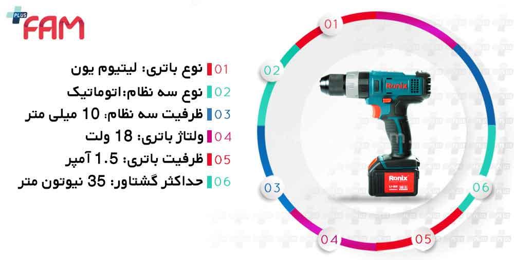 مشخصات فنی دریل پیچ گوشتی شارژی رونیکس 8618