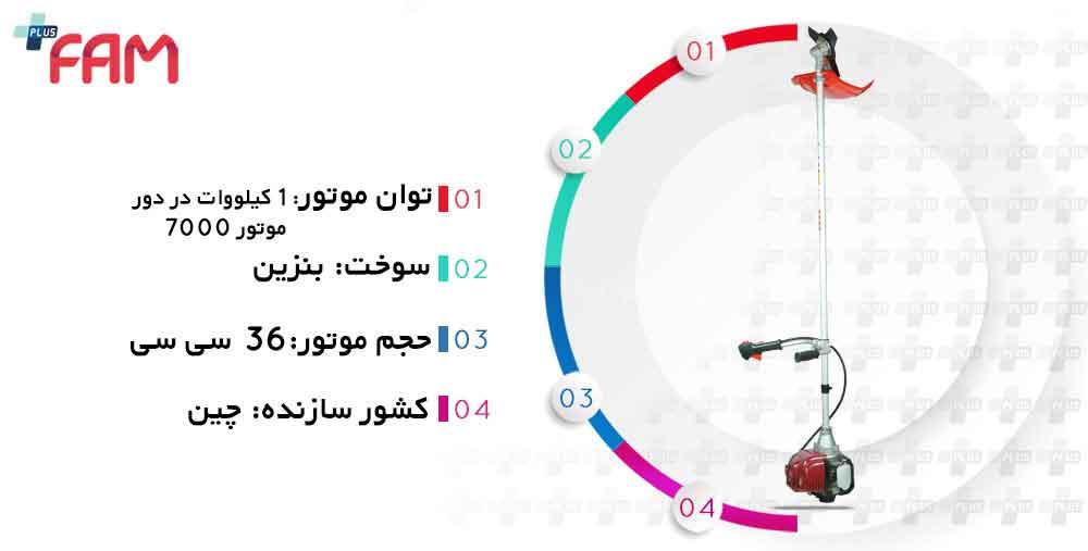 مشخصات فنی علف زن دوشی SKN BC358