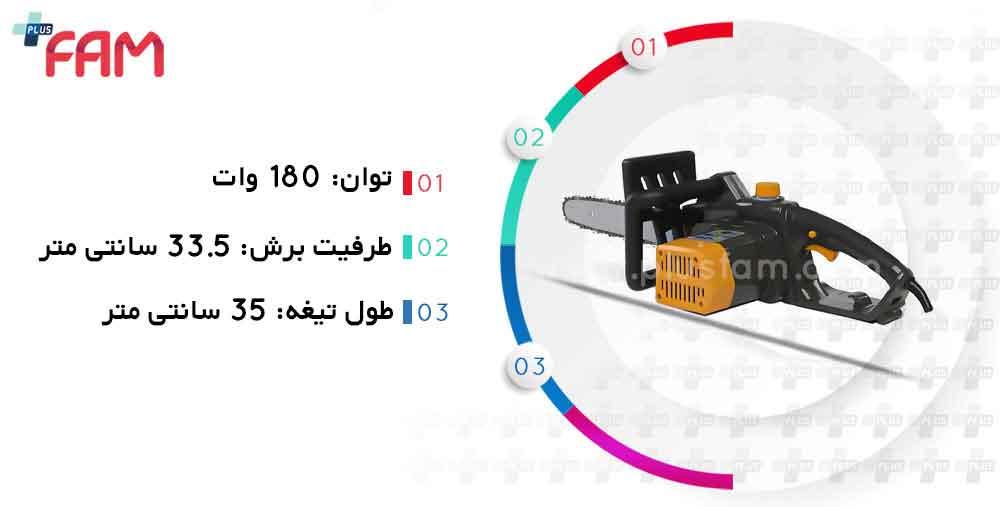 مشخصات فنی اره زنجیری (موتوری) SE 1814Q