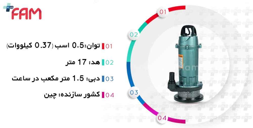 مشخصات فنی پمپ کف کش F&G QDX1.5-17-0.37