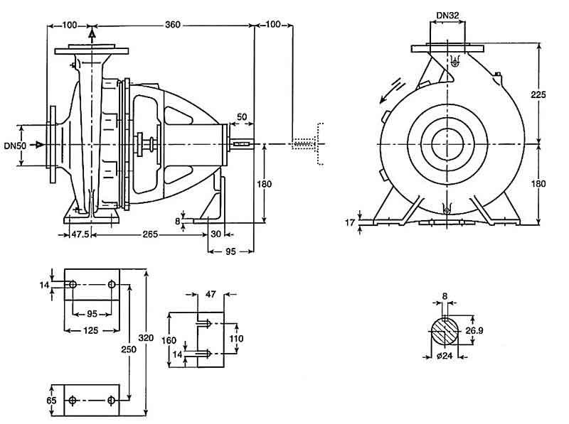 ابعاد پمپ پمپیران EN32-250
