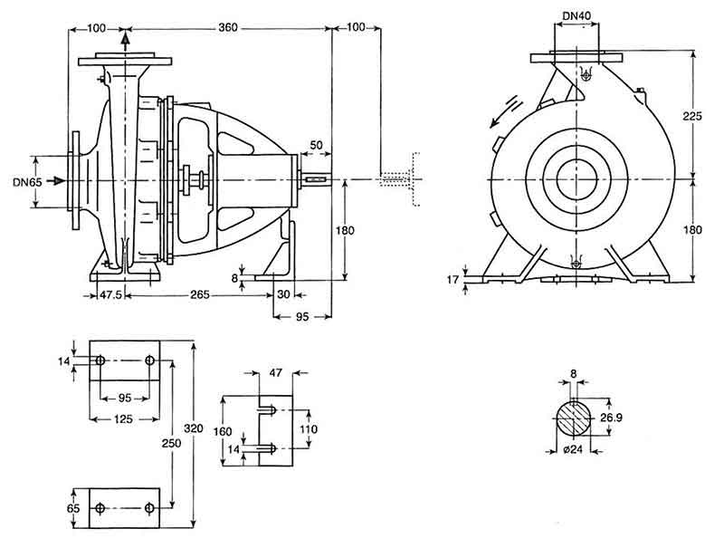 ابعاد پمپ پمپیران EN40-250