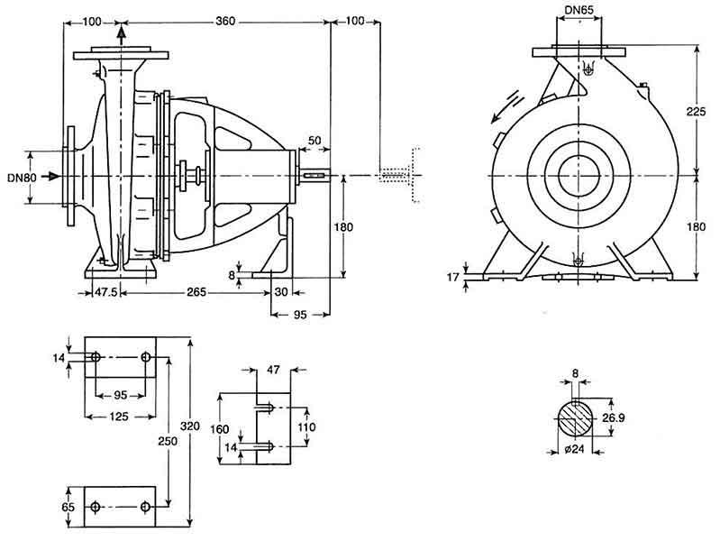 ابعاد پمپ پمپیران EN65-200