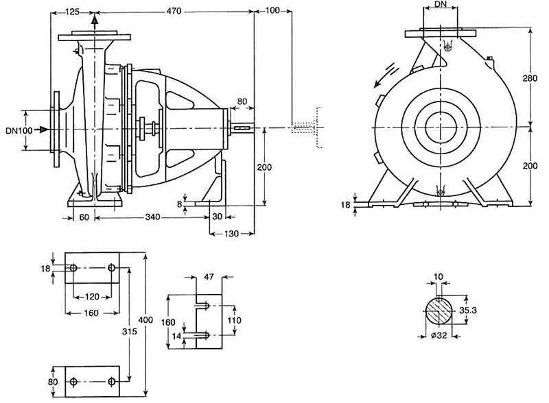 ابعاد پمپ پمپیران EN80-250