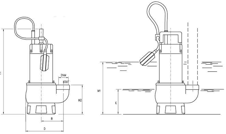 ابعاد پمپ لجن کش پنتاکس DG 100/2