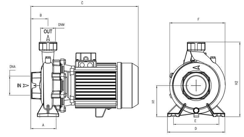 ابعاد پمپ پنتاکس CHT210