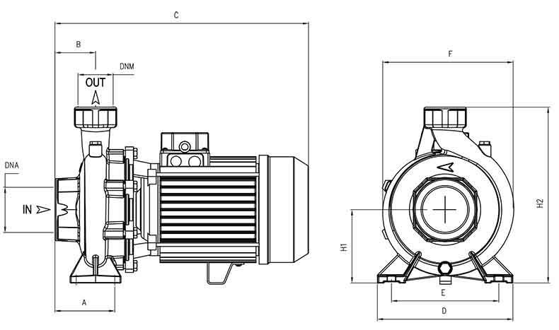 ابعاد پمپ پنتاکس CHT310