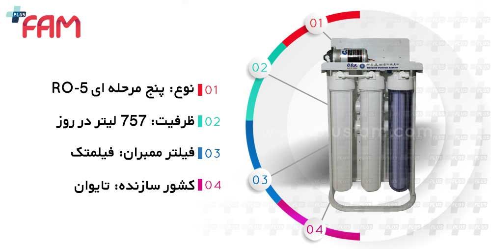 مشخصات فنی دستگاه تصفیه آب نیمه صنعتی 200 گالن CCK مدل RO200GP36s پنج مرحله ای